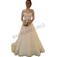2019 Vintage Lace Wedding Dresses Long Sleeve Open Back