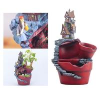1 PC Castle Flower Pot Mini Decorative Creative Unique Flower Basin Flowerpot Resin Pot for Micro Landscape Decor Home Ornament