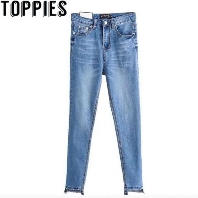 Toppies נשים 2019 נשים כחול ג 'ינס גבוה מותן סקיני ג' ינס נשים ג 'ינס femme