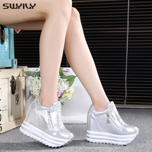 Image 2 - SWYIVY 11cm Wedge Shoes For Woman Sneakers White Shoes 2019 Spring/Autumn New Fashion Womens Footwear Ladies Casual Shoes Black