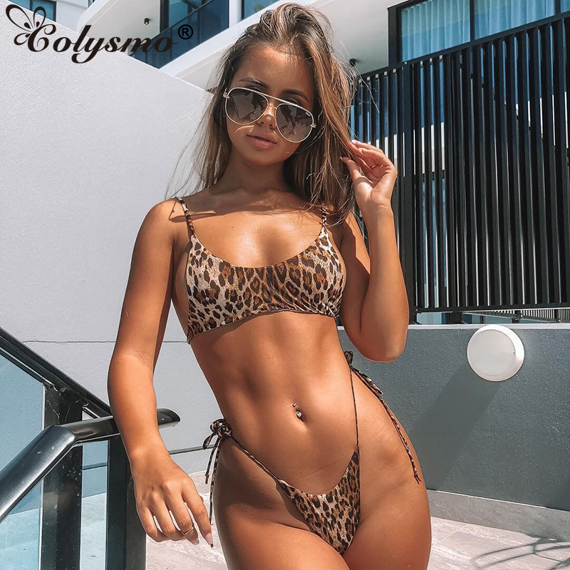 Colysmo Leopard Print Bikini Set 2019 New Swimming Suit For Women Sexy Lace Up Push Up Padded Beachwear Casual Bathing Suit
