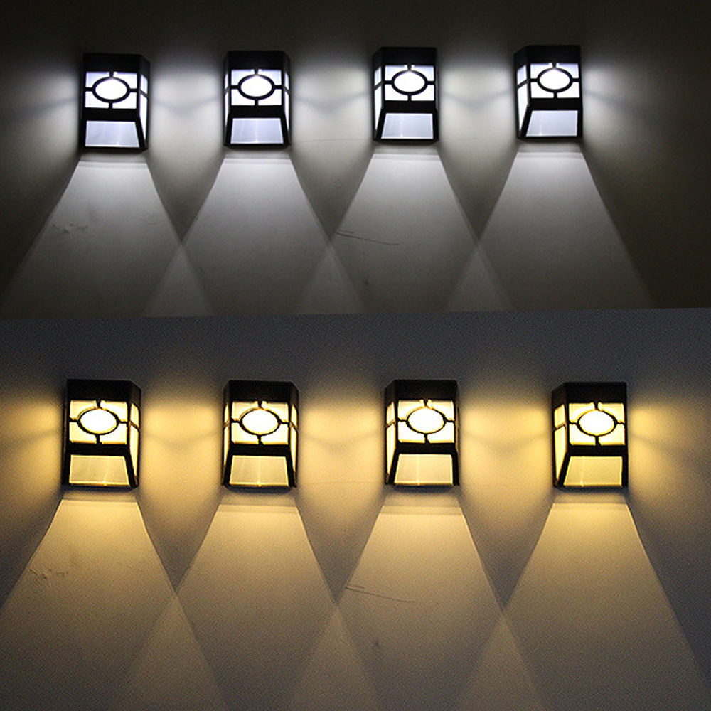 LED Solar White Light Night Security Wall Bulb Outdoor Fence Garden Lamp Decoration Waterproof Rechargeable Sunlight 2 LEDs