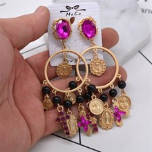 Pink Rhinestone Baroque Earring Jewelry European Fashion Cross Drop Women Big