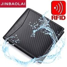 цена на New RFID Blocking Leather Wallet Carbon Fiber 3D Special Waterproof Leather Wallet Men Slim Wallet Minimalist Bifold Thin Wallet