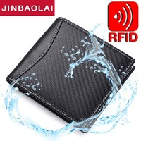 New RFID Blocking Leather Wallet Carbon Fiber 3D Special Waterproof Leather Wallet Men Slim Wallet Minimalist Bifold Thin Wallet
