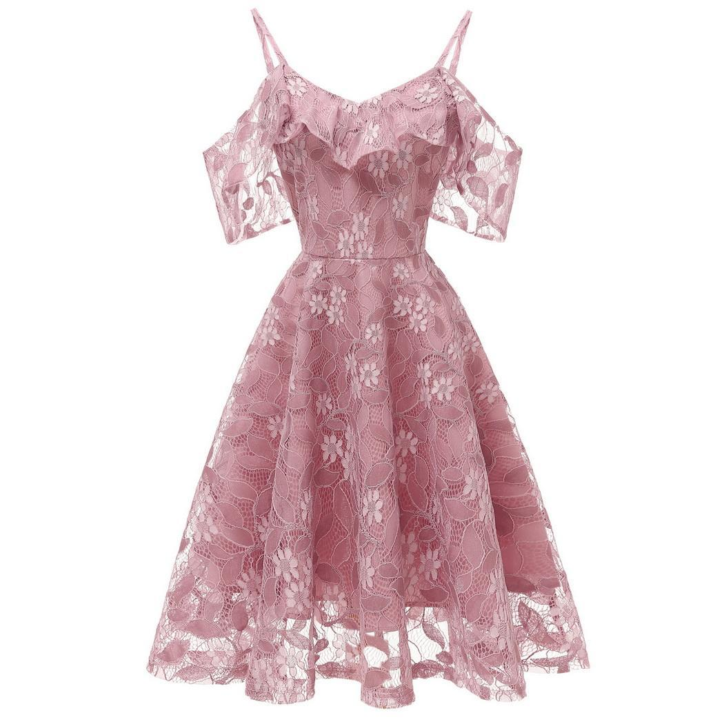 18ab3d930bd ... AL'OFA Women A-Line Cocktail Dress Spaghetti Strap Short Sleeve Floral  Ruffles Lace