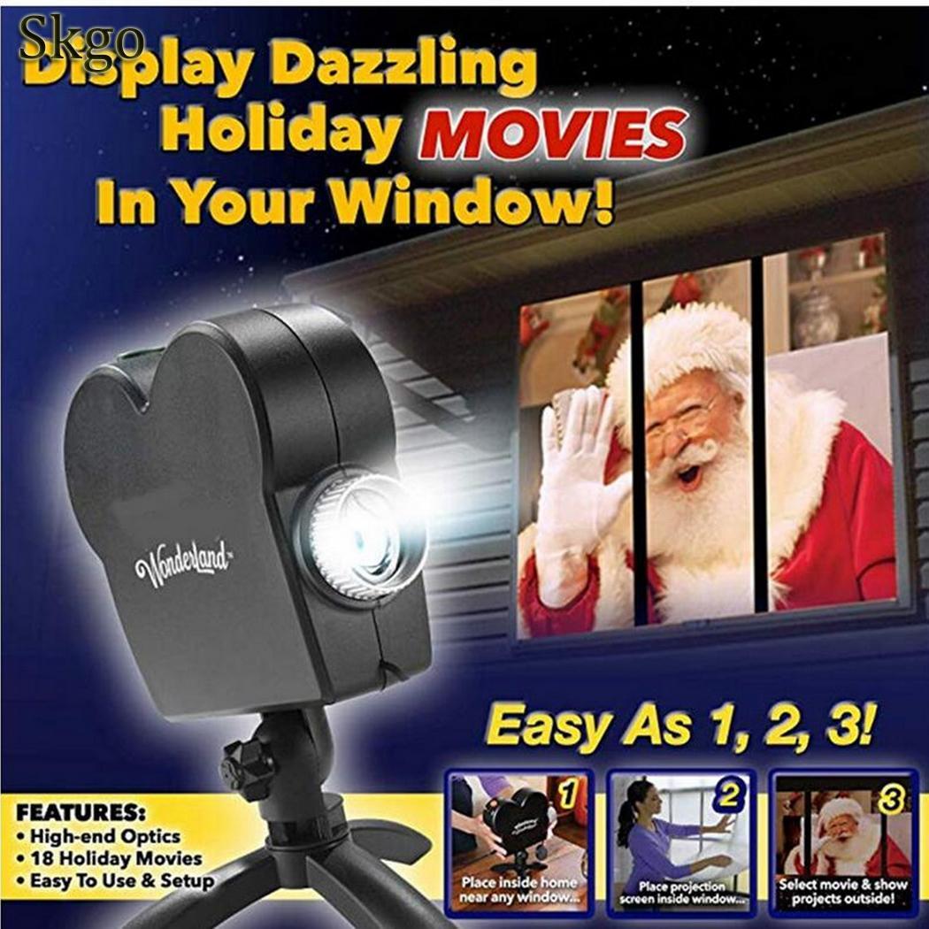 Ensemble Portable Halloween noël portable Simple décoration noir léger installer fenêtre pays des merveilles projecteur