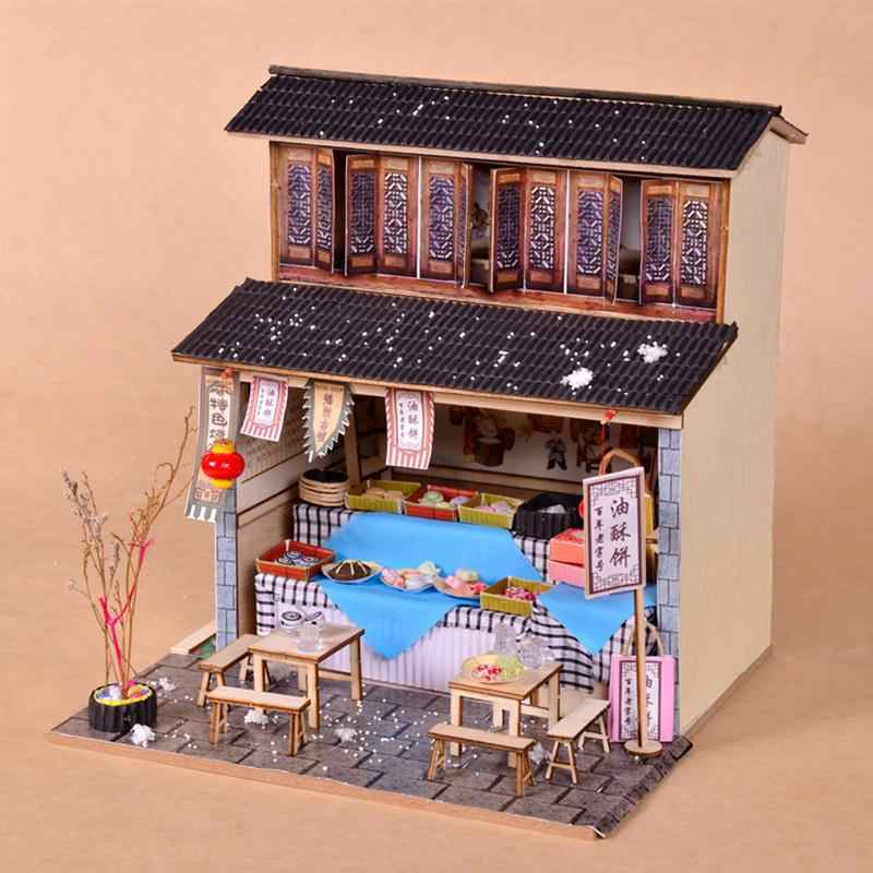 Mini DIY Cabin Chinese Ancient Architecture Restaurant DIY Dollhouse Lovely Gift For Children