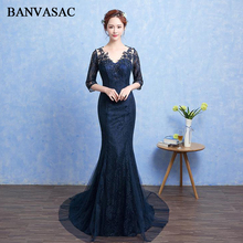 BANVASAC Crystal Deep V Neck Lace Appliques Mermaid Long Evening Dresses Party Illusion Backless Sweep Train Prom Gowns