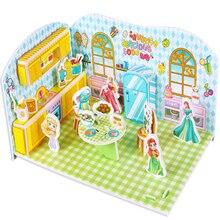 Бумага DIY набор мультфильм бумага строительство стереоскопическая мозаика строительство моделирование DIY набор подарок для детей-деликатная кухня