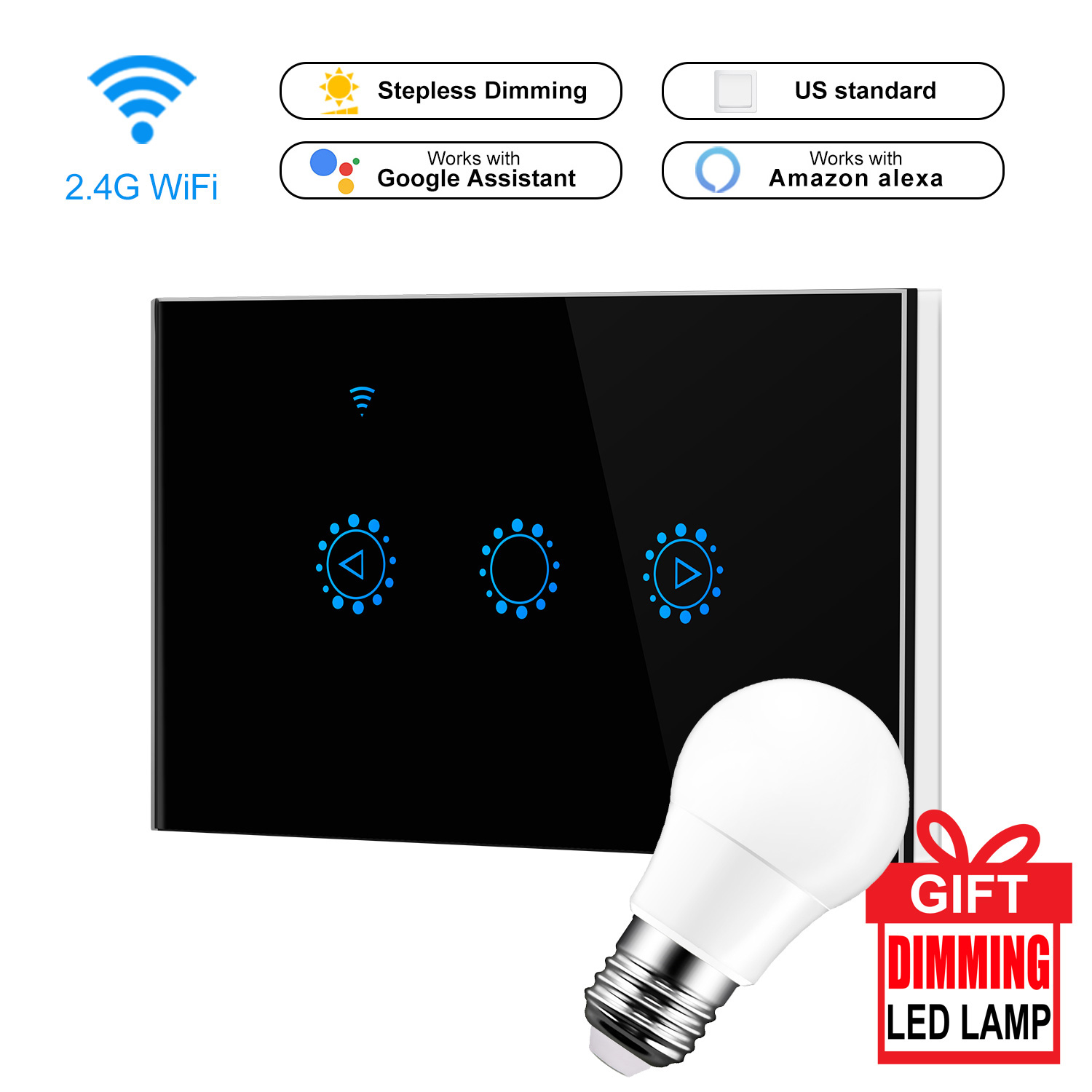 220v Led Dimmer Smart Wifi Switch Touch Control Stepless