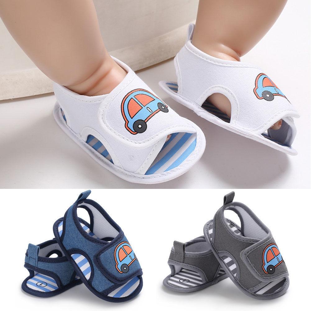 Newborn Baby Boys Girls Summer Sandals Cute Cartoon Car Print Soft Sole Crib Shoes Clogs Toddler Prewalker Sandals Shoes