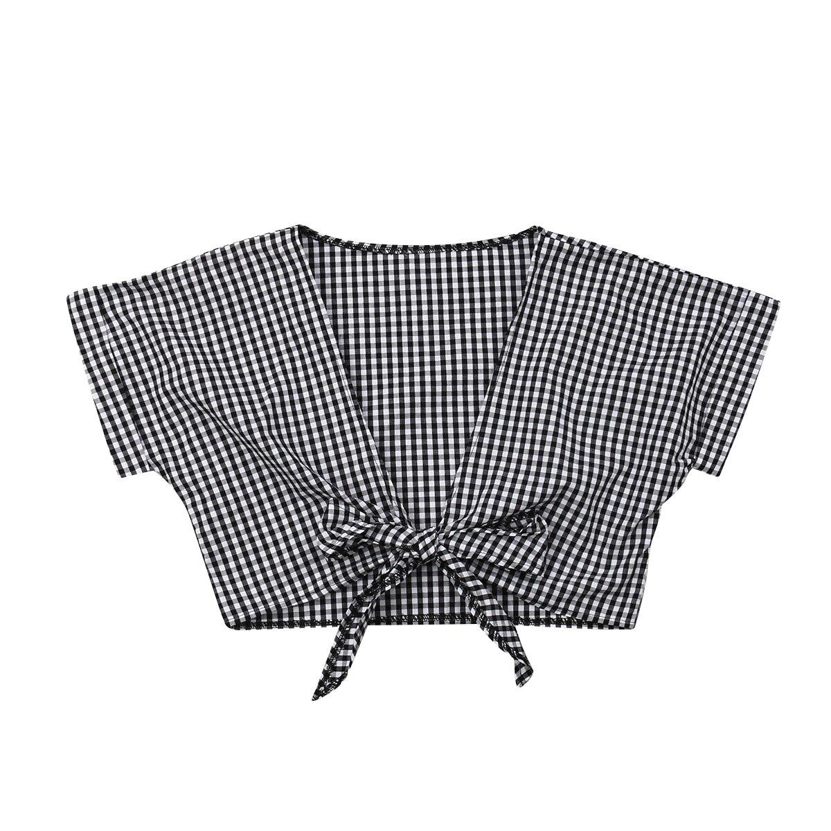 Blouses & Shirts Responsible 2019 Women Fashion Plaids V-neck Short Blouse Lady Girls Casual Top Blouses Ladies Slim Crop Tops Shirts