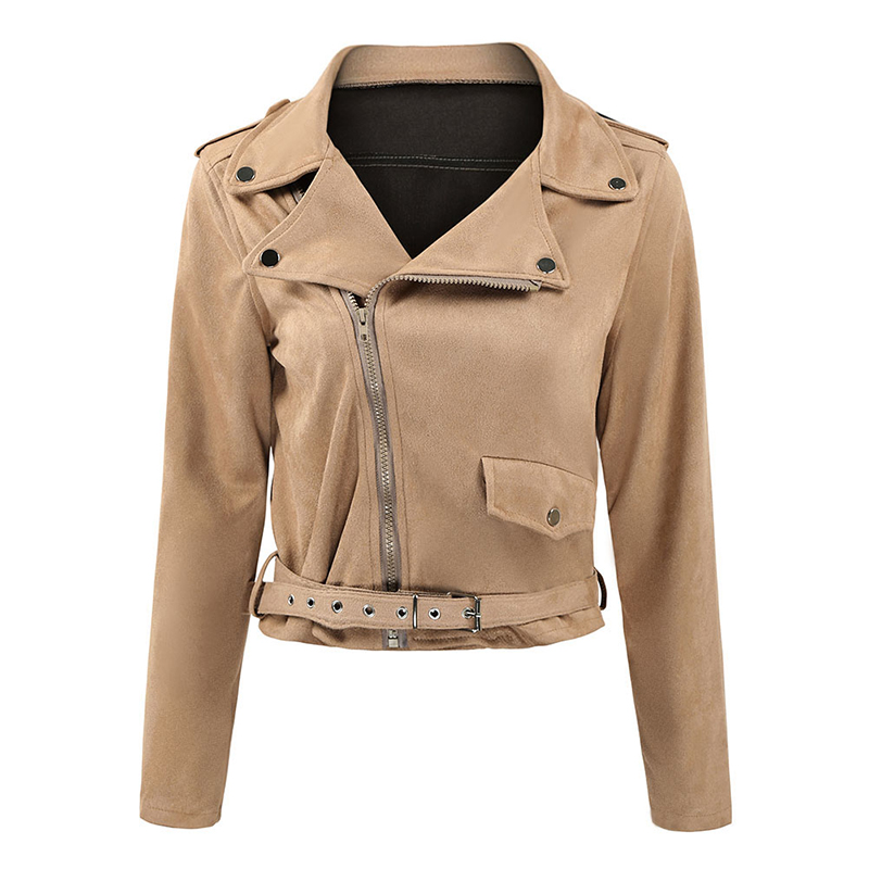 Fashion Women Faux Suede Jacket Coat Solid Turn Down Collar Long Sleeve Thin Belted Slim Coat Outerwear Female Autumn Overcoat