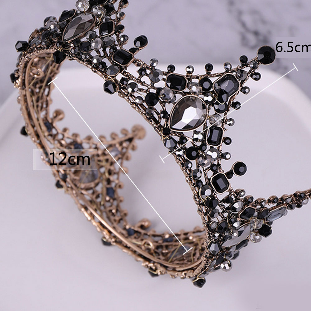 New Style Retro Baroque Crown Alloy Green Diamond Small Crown Noble And Elegant Bridal Headdress Wedding Supplies in Women 39 s Hair Accessories from Apparel Accessories