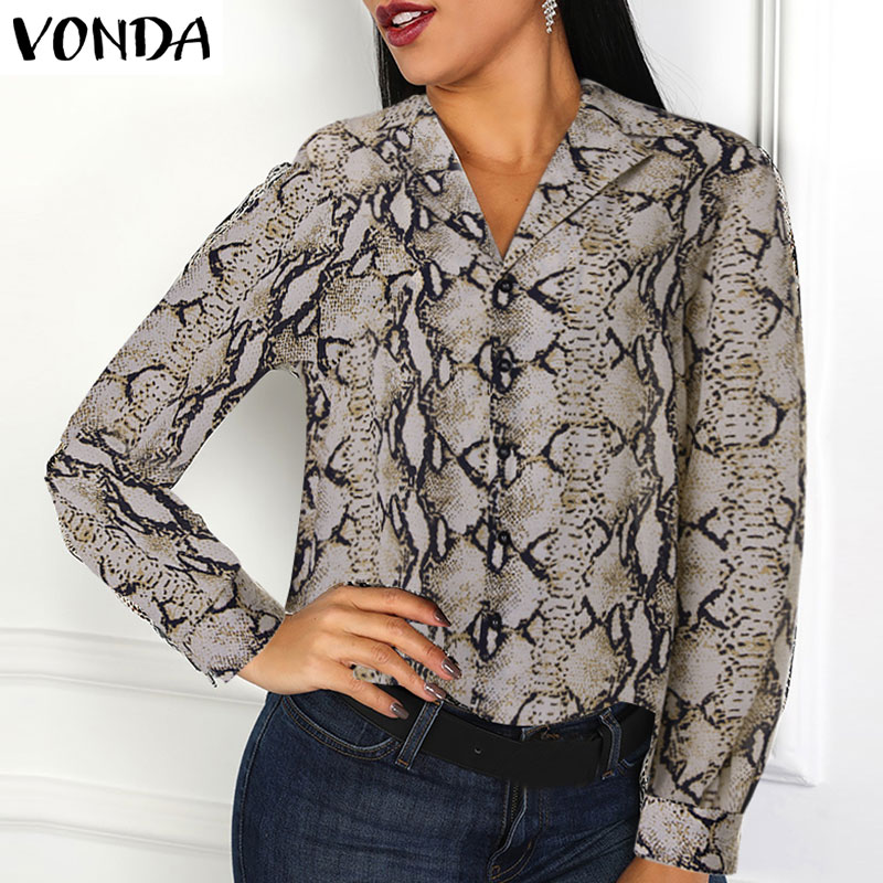 VONDA Women Snake Print Blouses Long Sleeves Lapel Neck Snakeskin Shirts 2019 Autumn High Street Female Fall Fashion Tops 5XL
