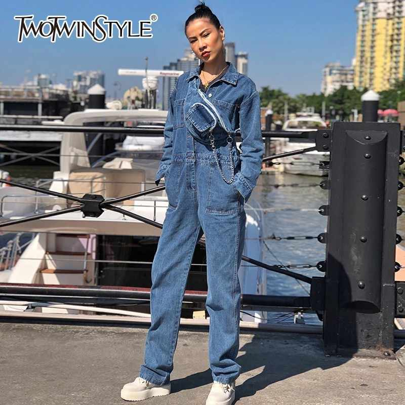 TWOTWINSTYLE Denim Jumpsuits Voor Vrouwen Revers Lange Mouwen Hoge Taille Brede Tailleband vrouwen Romper Lente 2019 Casual Mode