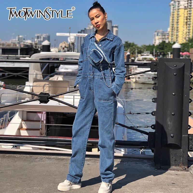 TWOTWINSTYLE Denim Jumpsuits For Women Lapel Long Sleeve High Waist Wide Waistband Women's Romper Spring 2020 Casual Fashion