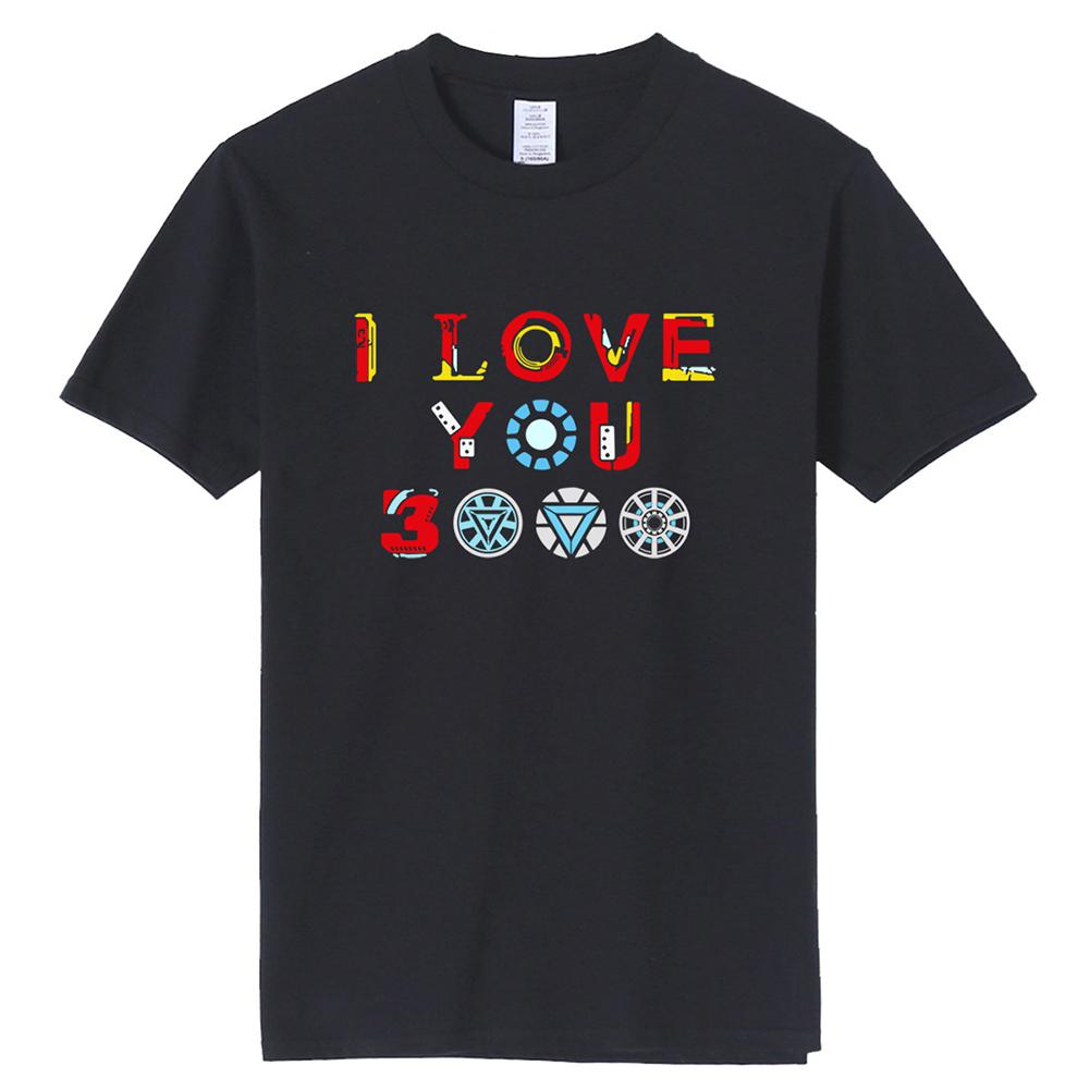 MISSKY Unisex Women Men Summer t shirt Short Sleeve Fashion Letters I Love You 3000 Pattern Soft Breathable Cotton T-Shirt