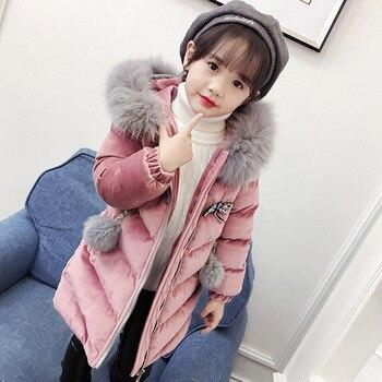 9589bf23f 2019 niños niñas chaquetas de invierno de terciopelo grueso niños abrigos  de piel Parka con cuello de larga con capucha de algodón bebé niña ropa para  6 ...