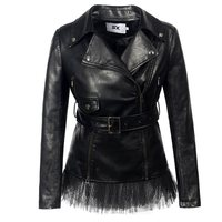 PU Leather Jackets Coat Women Punk Rock Fashion Lace Gothic Autumn Winter Motorcycle Jackets Cool Black Faux Leather Outerwear