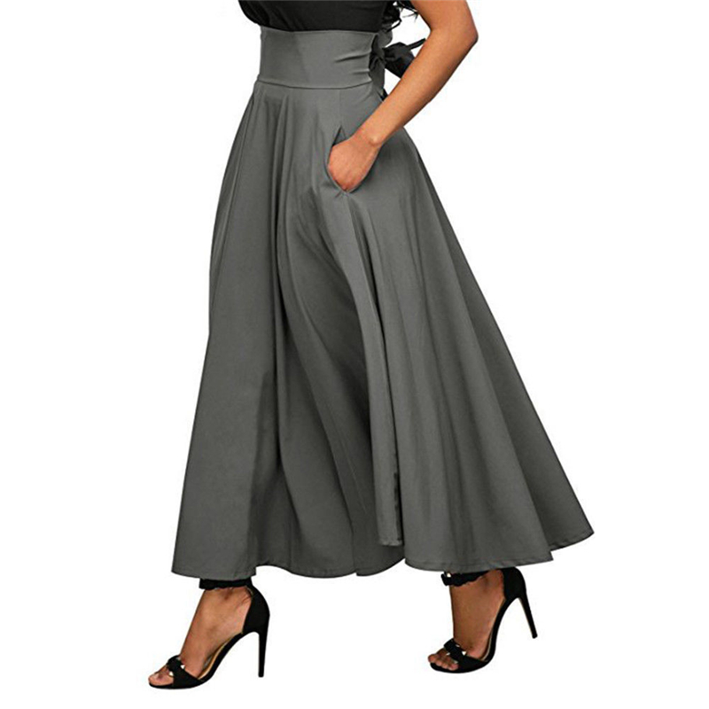 2019 Summer Trend Skirts With Pocket High Quality Solid Ankle-Length Vintage Skirt For Women Black Gray Wine Red Long Skirt