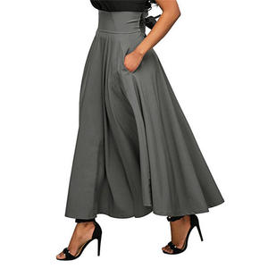 Skirts Wine Pocket Gray Ankle-Length Trend Black Red Women High-Quality Summer Solid