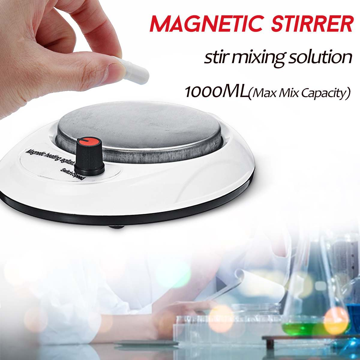 1000ml Heat Magnetic Stirrer Mixer With Stirer Bar For Laboratory Miniature 0-2200RPM Speed Magnetic Stirrer