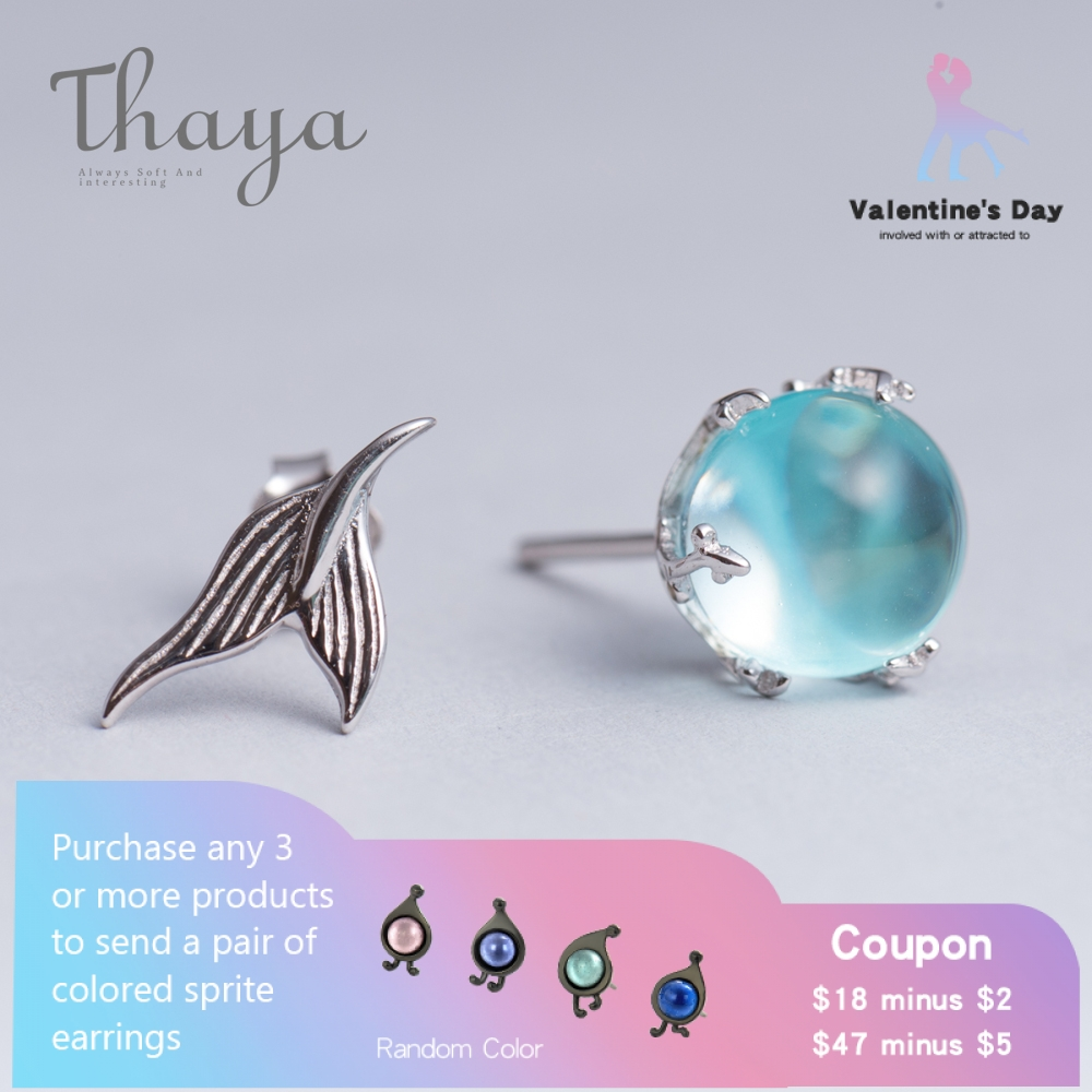 Thaya Mermaid Bubble Studs Earrings S925 Silver Blue Crystal Seaweed Cushion Fishtail Earring For Girls Jewellery Feminine