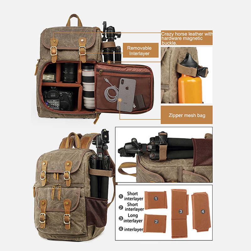 Batik sac pour appareil photo toile sac à dos pour appareil photo étanche multi-fonctionnel extérieur résistant à l'usure sac à dos pour Canon/Sony/Nikon