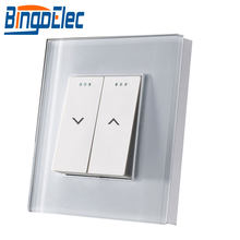 Bingoelec empujar cortina interruptor de cristal de vidrio persiana de Panel interruptor de la UE estándar de obturador interruptor AC 240 V