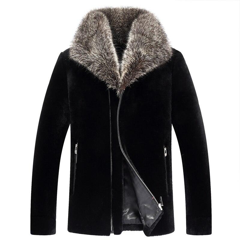 Real Fur Coat Real Sheep Shearling Fur Warm Coat Winter Jacket Men Clothes 2019 Raccoon Fur Collar Jackets Veste XJL-6018 MY1713 мужские кожанные куртки с косой молнией