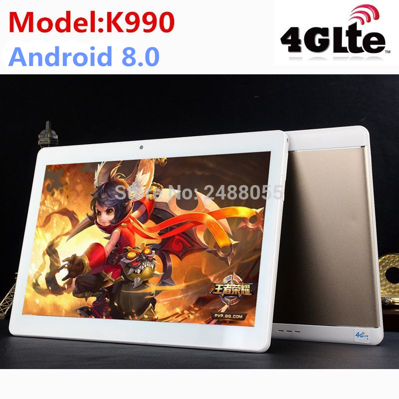 2019 plus récent K990 10.1 pouces tablette MTK8752 Android tablette Octa Core 4 GB RAM 64 GB ROM double SIM GPS Android 8.0 10 tablette PC