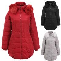 Women Winter Parka Coats Thicken Warm Fur Collar Hooded Long Coat Fashion Female Zipper Slim Fit Jackets Outwear Plus Size L 4XL