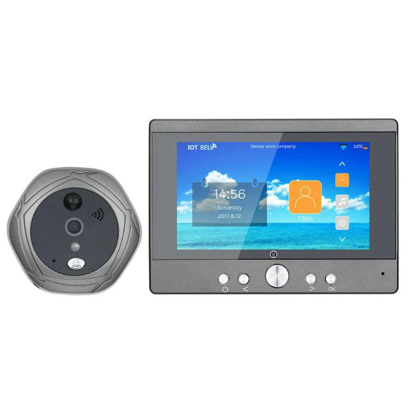 Alloyseed 5 Inch Wifi Wireless Digital Intercom Doorbell Peephole Viewer Home Security Camera 160 Degrees Doorphone US  EU Plug