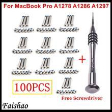 Faishao 100 pçs/10 conjuntos inferior caso capa parafusos para apple macbook pro 13