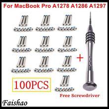 Faishao 100pcs / 10sets Bottom Case Cover Screws For Apple MacBook Pro 13″ 15″ 17″ A1278 A1286 A1297 with Free Screwdriver