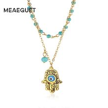 Charm Women Necklace Fatima Hand Blue Eye Pendant Nature Stone Beads Chain Link In Gold Color Trendy Jewelry(China)