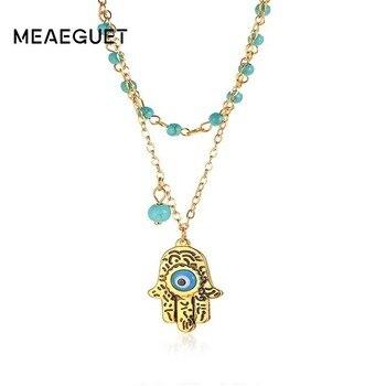 840f131f41ab Dije para mujer collar Fátima mano azul ojo colgante naturaleza piedra  cuentas cadena enlace en oro Color joyería de moda