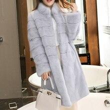 One Size Women's Fashionable Fur Coat 2018 Brand Winter New Women's Artificial Fox Fur Mid Long Section Leisure Slim Fur Coat