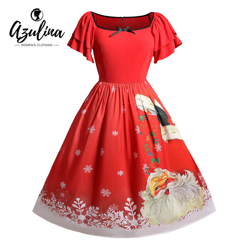 AZULINA Christmas Plus Size Santa Claus Printed Dress Women Vintage Party  Dress Fall Spring Square Collar Short Sleeves Vestidos