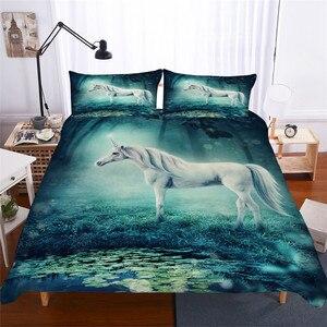 Image 1 - Bộ đồ giường Đặt 3D In Duvet Cover Bed Thiết Unicorn Trang Chủ Dệt May cho Người Lớn Sống Động Như Thật Chăn Mền với Gối # DJS15