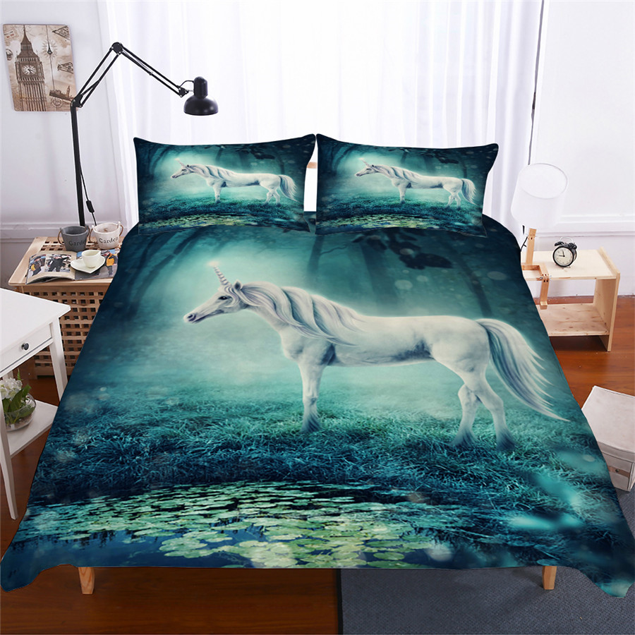 Bedding Set 3D Printed Duvet Cover Bed Set Unicorn Home Textiles for Adults Lifelike Bedclothes with Pillowcase #DJS15-in Bedding Sets from Home & Garden
