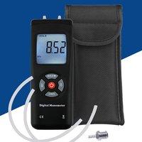 Digital Manometer Portable Handheld LCD Screen Air Gas Pressure Meter Gauges Kit Tester Instruments Battery Metal Connector