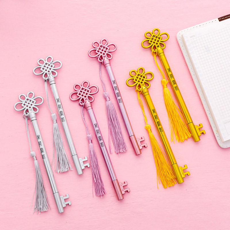 Novelty Key Gel Pen Kawaii Pure Color Pendant Tassel Neutral Pens For Girls Writting Gifts School Supplies Japanese Stationery