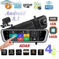 9.66Inch 4G Android 8.1 Touch Screen Car Rearview Mirror DVR Camera GPS Navigator ADAS HD Night Vision Dash Cam Camera