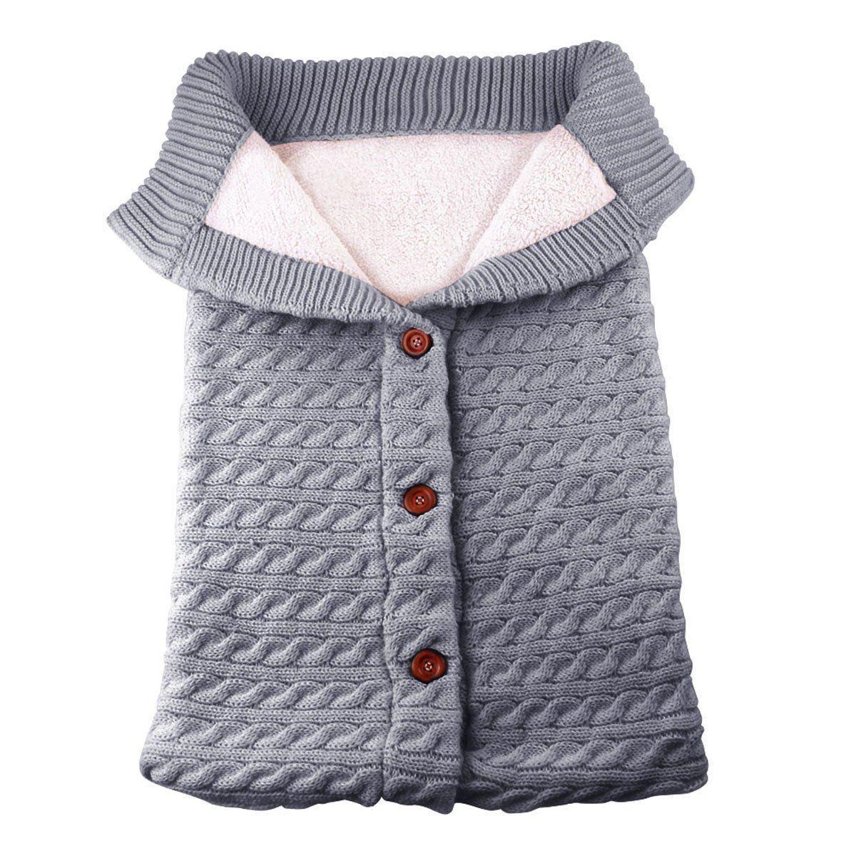 Newborn Baby Winter Warm Sleeping Bags Infant Button Knit Swaddle Wrap Swaddling Stroller Wrap Toddler Blanket Sleeping Bags 3