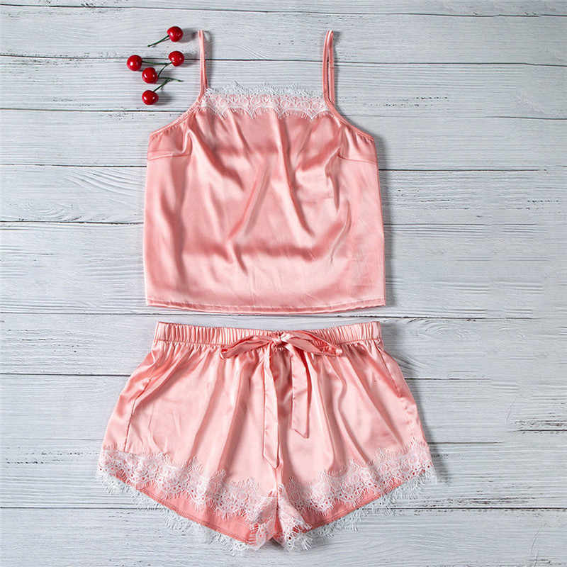 38830603962 Detail Feedback Questions about 2Pcs Ladies Sexy Satin Lace Camisole Lace  Up Shorts Pyjamas Set Women Cute Sleepwear Babydoll Lingerie Nightdress  Pyjamas ...
