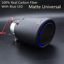 Universal Inlet 63mm Outlet 89mm Carbon Exhaust Muffler Pipe with Blue LED Light for Akrapovic Modification 1pc akrapovic 89mm size car modification carbon fiber exhaust muffle pipe for benz bmw audi porsche cadillac honda buick ford