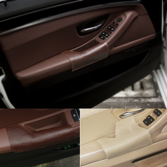 Left Driving Side Cow Leather Door Armrest Handle Pull Protection Cover for BMW 5 Series F10 2011 2012 2013 2014 2015 2016 2017